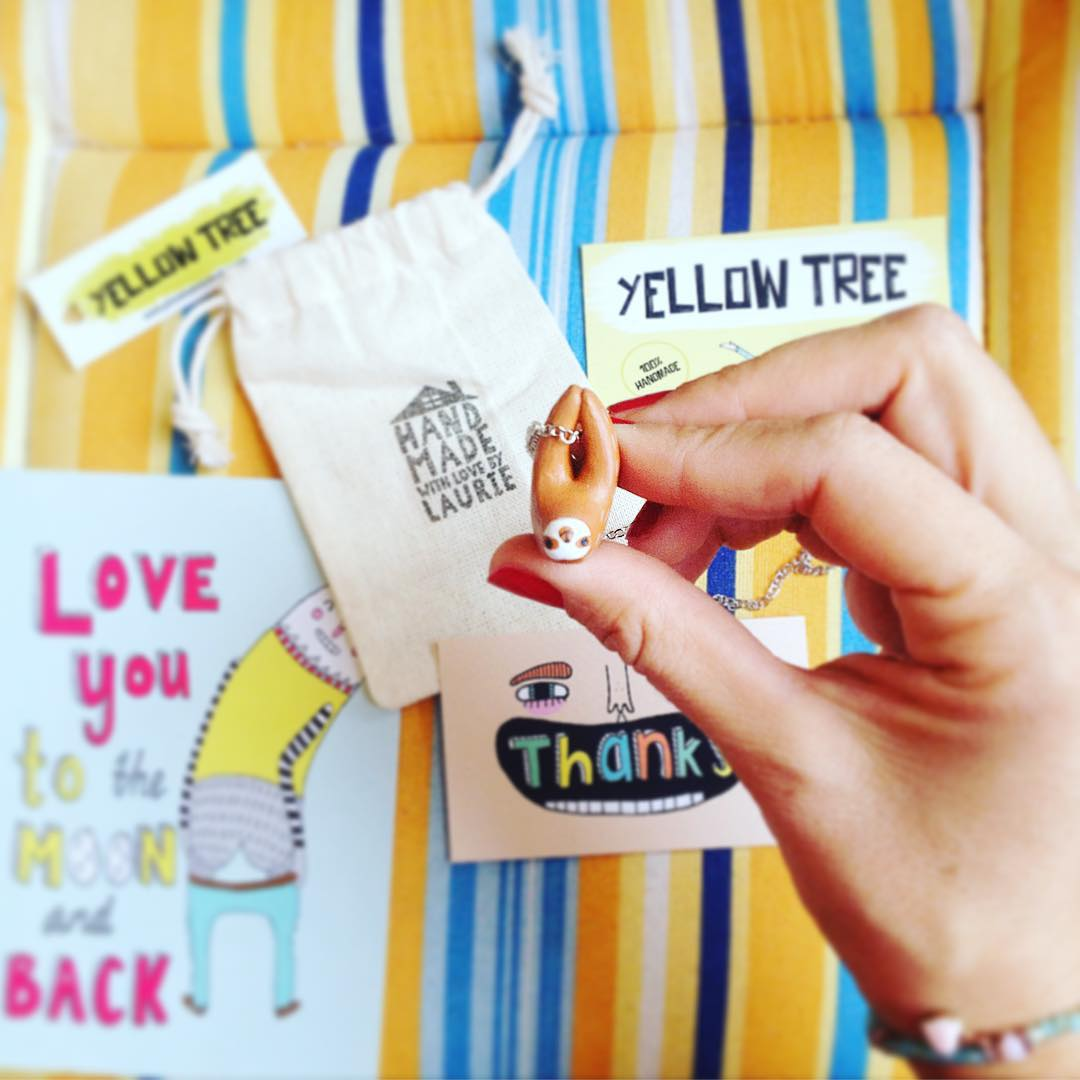 Welcome little Sloth finally You find the way thank You @laurie_melia is beautiful #littlesloth #instasloth #sloth #necklace #handmade #happythings #loveyoutothemoon #yellowtreestore